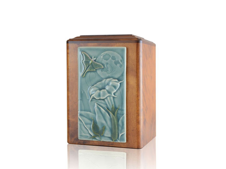 Flying butterfly wood urn