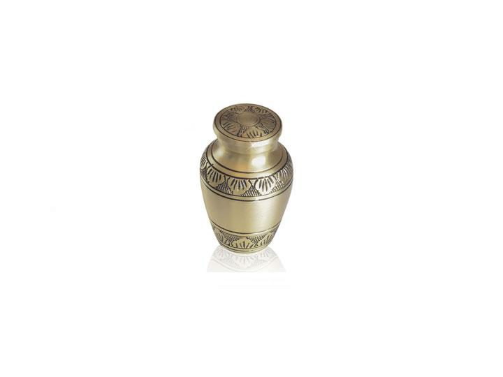 Golden brass keepsake urn