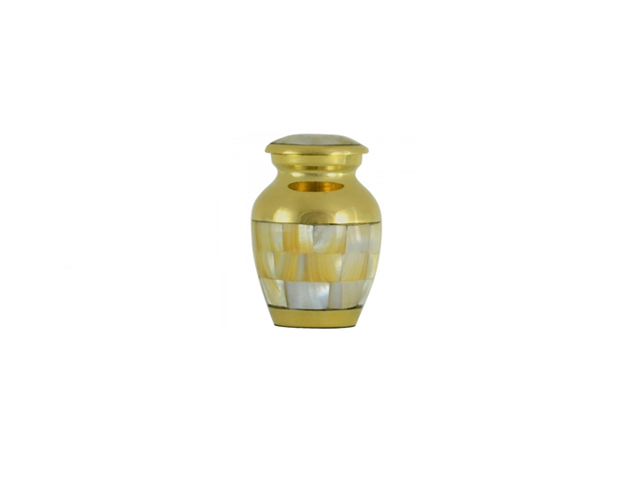 Mother of pearl brass keepsake urn upd