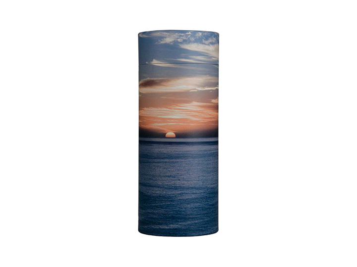 Ocean sunset temporary urn