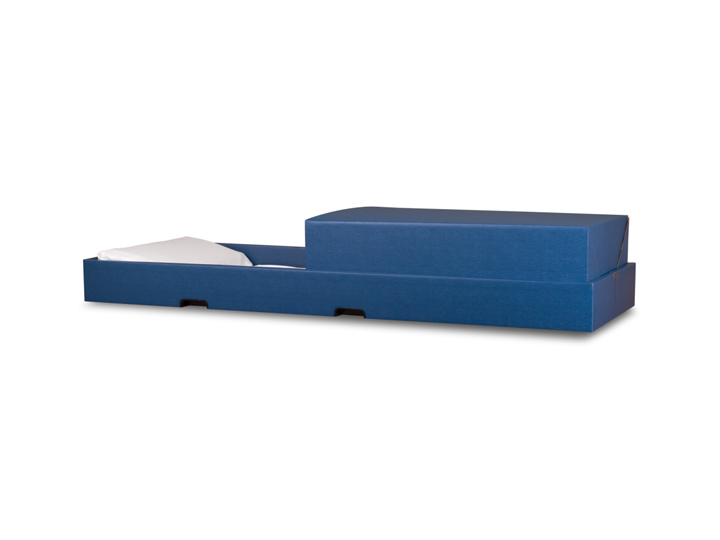 Transporter blue cremation container