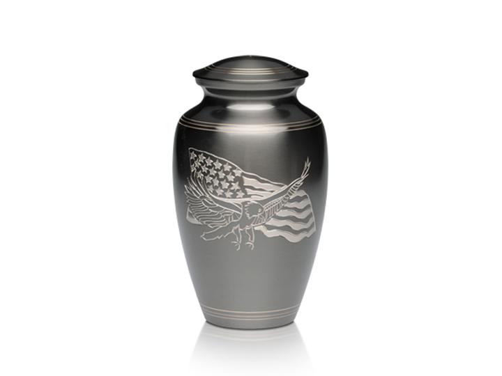 American eagle and flag urn