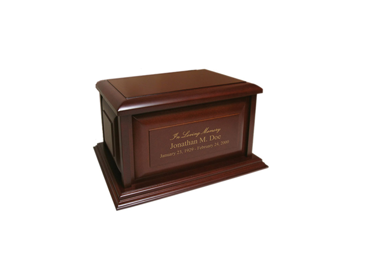 Engraved colonial hardwood urn
