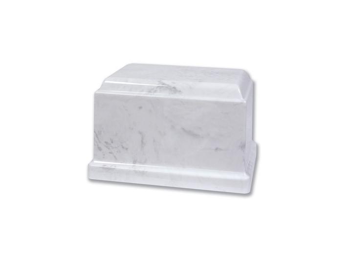 Engraved white marble urn