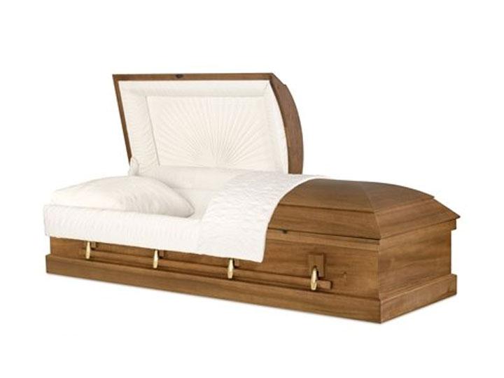 Ashford dull medium walnut finish burial casket