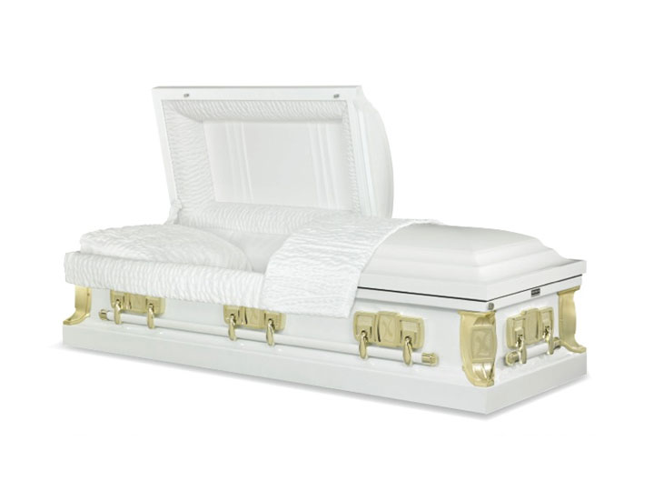 Civic white burial casket