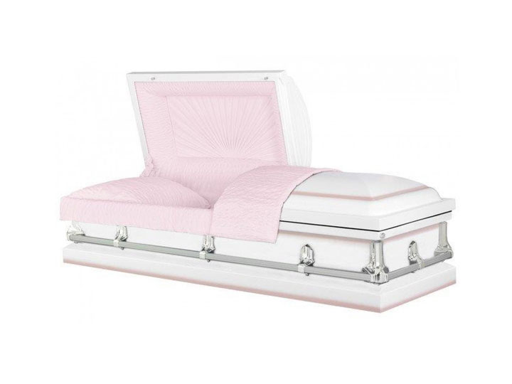 Jessup white pink burial casket