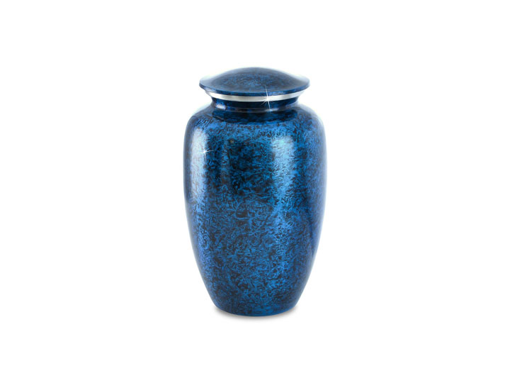 Cerulean marble urn