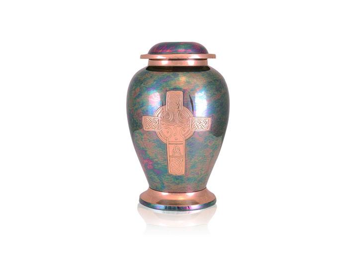 Gleaming cross brass urn