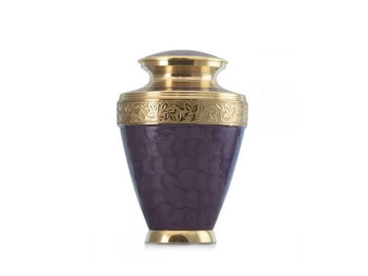 Purple floral brass urn